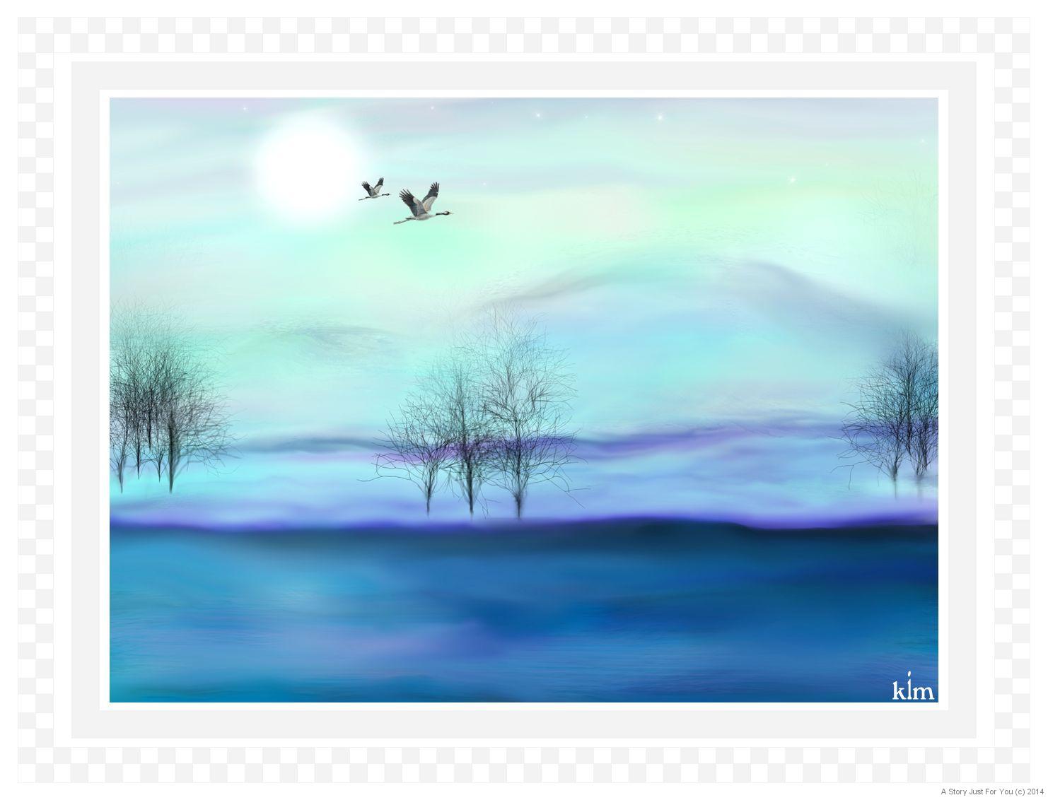 Cranes By Moonlightt